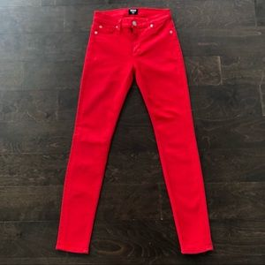 Hudson Jeans Bright Red Skinny Jeans, Size 25
